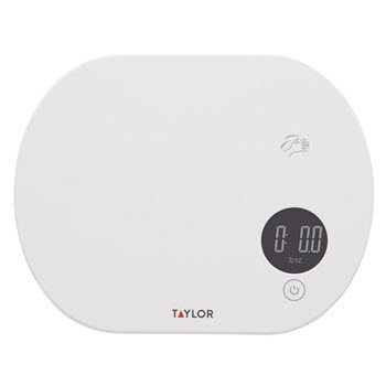 Taylor Plastic Digital Touchless Tare Kitchen Scale 5kg White