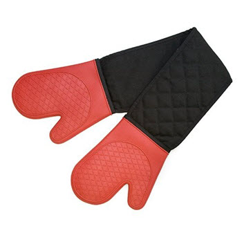 Cuisena Silicone Fabric Double Oven Glove - Red