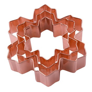 D.Line Set of 3 Snow Flake Cookie Cutters Copper