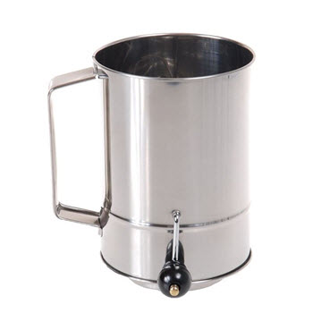D.Line 5 Cup Stainless Steel Crank Action Flour Sifter