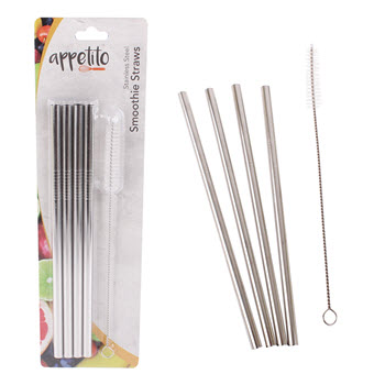 Appetito Stainless Steel Metal Smoothie Straws Set of 4