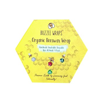 Buzzee Organic Beeswax 4 Piece Food Storage Wraps Set Bees At Work