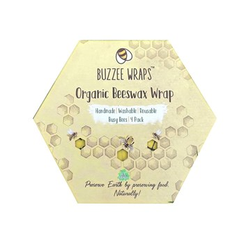 Buzzee Organic Beeswax 4 Piece Food Storage Wraps Set Busy Bees