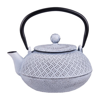 Teaology 800ml Parquetry White Cast Iron Tea Pot