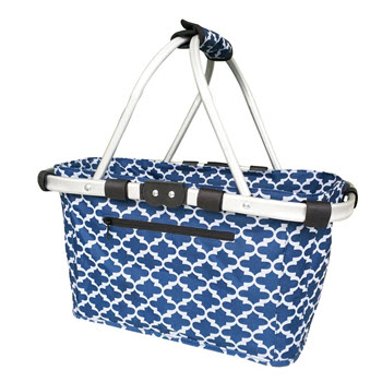 Sachi Foldable 2 Handle Carry Basket Moroccan Navy