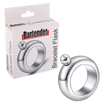 Bartender Stainless Steel Bracelet Flask Silver 100ml
