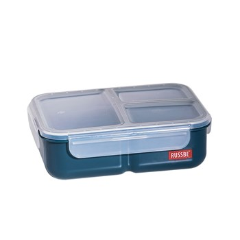 Russbe Plastic Lunch Bento 3-Compartment 1.6L Navy