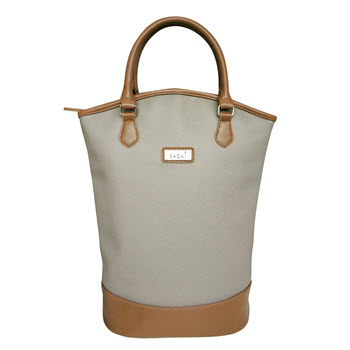 Sachi Insulated Two Bottle Wine Tote Taupe