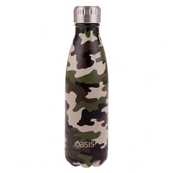 Oasis Stainless Steel Double Wall Insulated Water Bottle 500ml Camo Green