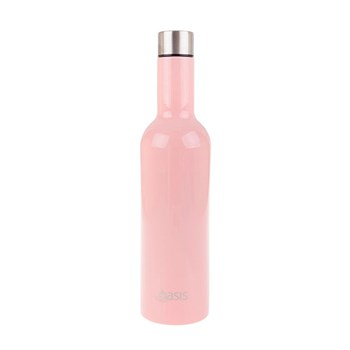 Oasis Stainless Steel Double Walled Insulated Wine Bottle 750ml Soft Pink