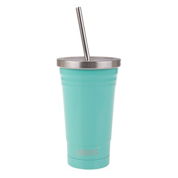 Oasis Stainless Steel Double Wall Insulated Smoothie Tumbler with Straw 500ml Spearmint Green