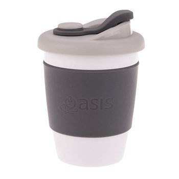 Oasis Biodegradable Plastic & Silicone Eco Cup 340ml Charcoal