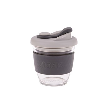 Oasis Borosilicate Glass Eco Cup 227ml Charcoal