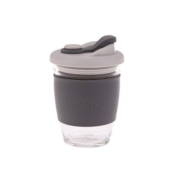 Oasis Borosilicate Glass Eco Cup 340ml Charcoal