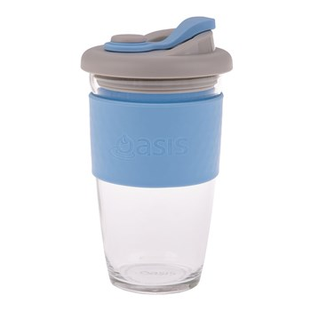 Oasis Borosiliate Glass Eco Cup 454ml Powder Blue