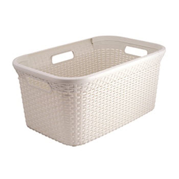 Curver Style Rattan 45L Washing Basket Cream