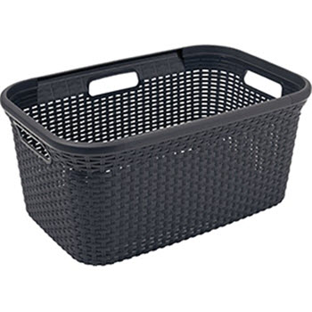 Curver Style Rattan 45L Washing Basket Charcoal