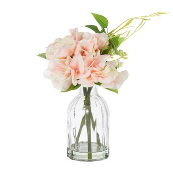 Florabelle Living Plastic & Polyester Hydrangea in Glass Vase 23cm Pink