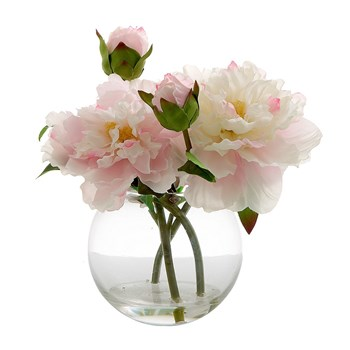 Florabelle Living Polyester Peony in Water Bowl 25cm Light Pink