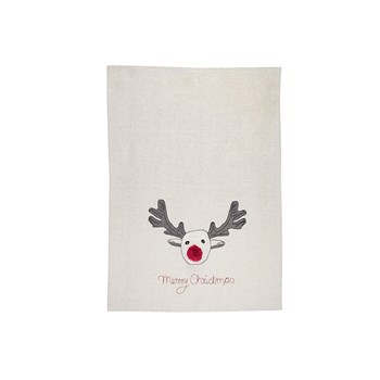 Raine & Humble Pom Pom Reindeer Recycled Cotton Tea Towel