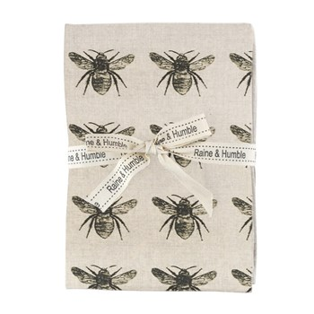 Raine & Humble Abby Bee Recycled Cotton 4-Piece Napkin Set Olive Green