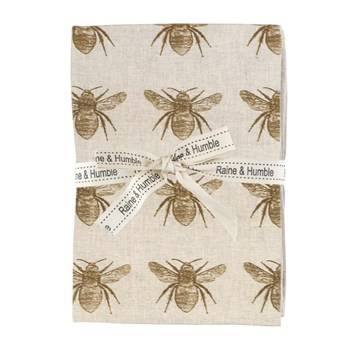 Raine & Humble Abby Bee Recycled Cotton 4-Piece Napkin Set Mustard