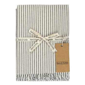 Raine & Humble Manor Stripe Cotton Tablecloth 150 x 240cm Charcoal