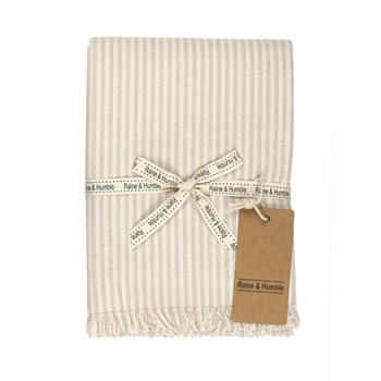 Raine & Humble Manor Stripe Cotton Tablecloth 150 x 240cm Mushroom Pink