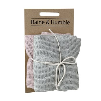 Raine & Humble Cotton Chambray Waffle 2-Piece Tea Towel Set 45 x 70cm Taupe & Pink