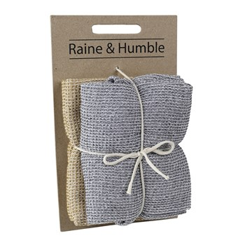 Raine & Humble Cotton Chambray Waffle 2-Piece Tea Towel Set 45 x 70cm Charcoal & Mustard