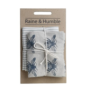 Raine & Humble Recycled Cotton 2-Piece Tea Towel Pack 50 x 70cm Prussian Blue