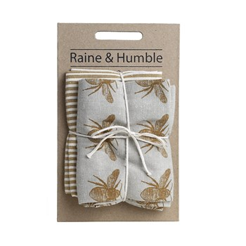 Raine & Humble Recycled Cotton 2-Piece Tea Towel Pack 50 x 70cm Mustard