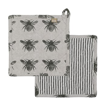 Raine & Humble Honey Bee Recycled Cotton Trivet/Potholder 20 x 20cm Olive Green