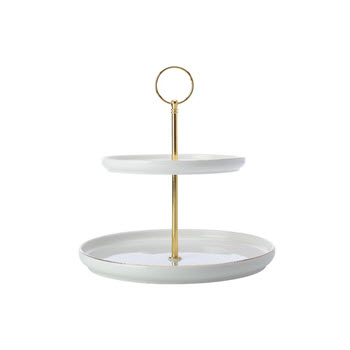 Maxwell & Williams Oro 2 Tiered Cake Stand White Gift Boxed