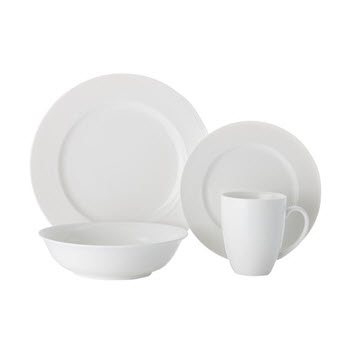 Casa Domani Casual White Evolve Coupe 16 Piece Dinner Set