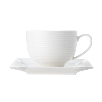 Casa Domani Casual White Evolve Square 280ml Cup & Saucer