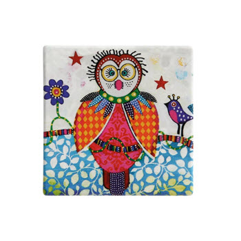 Maxwell & Williams Smile Style Ceramic Tile Coaster Boobook 9cm