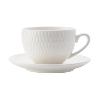 Maxwell & Williams White Basics Diamonds 90ml Demi Cup & Saucer