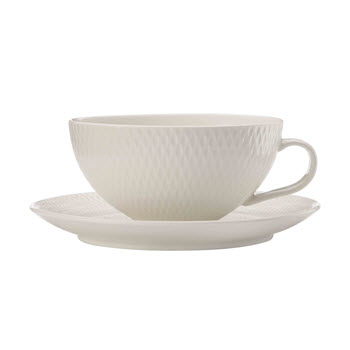 Maxwell & Williams White Basics Diamonds 250ml Low Tea Cup & Saucer