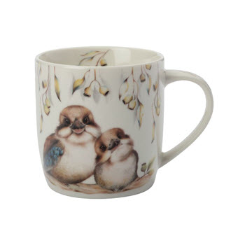 Maxwell & Williams Sally Howell Kookaburras Mug with Tin Gift Box 340ml