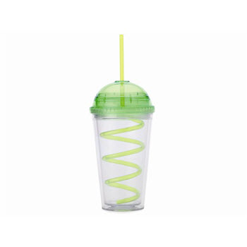 Maxwell & Williams Hot & Cold Milkshake Cup & Straw 480ml Lime