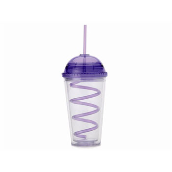 Maxwell & Williams Hot & Cold Milkshake Cup & Straw 480ml Purple