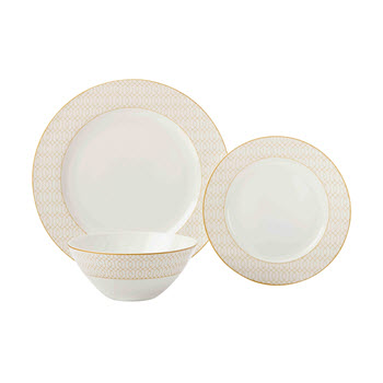 Maxwell & Williams Cashmere Nocturne 12 Piece Dinner Set White/Gold