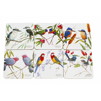 Maxwell & Williams Birds of Australia Eric Shepherd Coasters 10.5cm Set of 6 Gift Boxed