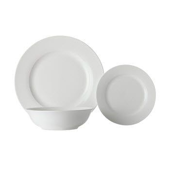 Maxwell & Williams White Basics European Rim Dinner Set 18 Piece