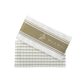 Maxwell & Williams Epicurious Tea Towel Set of 2 Taupe 50 x 70cm