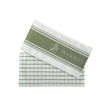 Maxwell & Williams Epicurious Tea Towel Set of 2 Olive 50 x 70cm