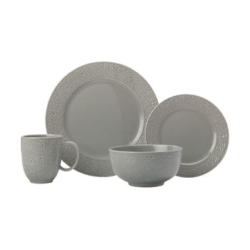 Maxwell & Williams Mantra Rim Dinner Set 16 Piece Grey Gift Boxed
