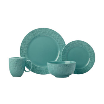 Maxwell & Williams Mantra Rim Dinner Set 16 Piece Turquoise Gift Boxed