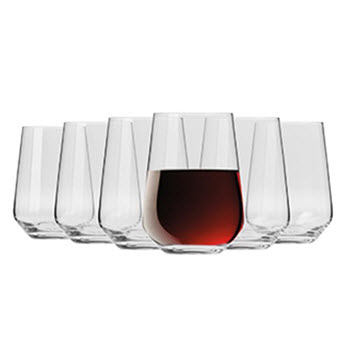 Krosno Flair Stemless Red Wine Glass 550ml Set Of 6 Gift Boxed
